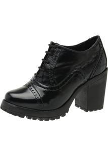 Sapato Oxford Malbork Em Couro Salto Tratorado 19000 Preto