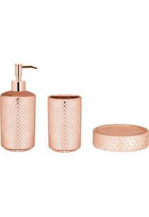 Conjunto Com 3 Peças Para Banheiro Lissandra Rosê Gold