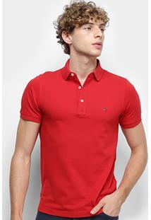 Camisa Polo Tommy Hilfiger Slim Masculina - Masculino-Vermelho