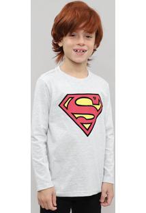 Camiseta Infantil Super Homem Flocada Manga Longa Cinza Mescla Claro