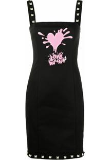 Love Moschino Vestido Com Estampa De Respingos De Tinta - Preto