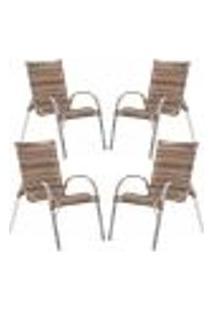 Cadeiras 4Un Para Area Varanda Fibra Sintetica Sala Cozinha Jardim Sacada Colombia - Argila