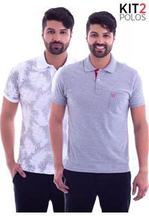 ... Kit 2 Camisas Polo Live - Lifestyle Com Bolso Mescla E Leaf Branca-Gg a1c46cf358dd4
