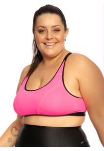 Top Plus Size Com Regulagem Rosa