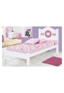 Cama Solteiro Coração - Branco/Rosa - Jaci Móveis