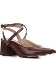 Scarpin Couro Shoestock Slingback Salto Bloco Madeira - Feminino-Marrom