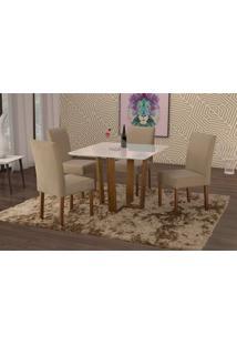 Conjunto De Mesa De Jantar Com 4 Cadeiras E Tampo De Madeira Maciça Valencia I Suede Marrom Médio E Off White