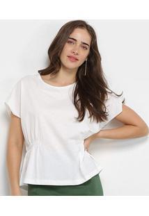 Blusa Colcci Elástico Manga Curta Feminina - Feminino-Branco