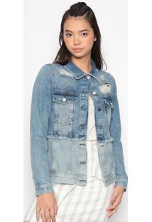 Jaqueta Jeans Com Bolsos- Azul - Heringhering