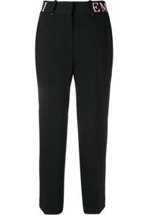 Emporio Armani Branded High-Waisted Straight Trousers - Preto