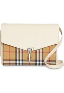 Burberry Small Vintage Check And Leather Crossbody Bag - Branco