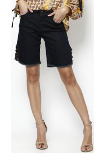 Bermuda Jeans Com Argolas - Azul Escuro - Maria Valemaria Valentina