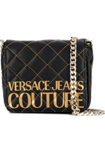 Versace Jeans Couture Bolsa Tiracolo Matelassê Com Logo - Preto