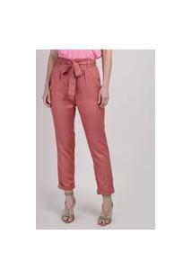 Calça Feminina Clochard Cintura Super Alta Alfaiatada Com Faixa Para Amarrar Rosa Escuro