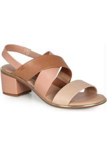 Sandália Salto Conforto Elástico Caramelo Preto