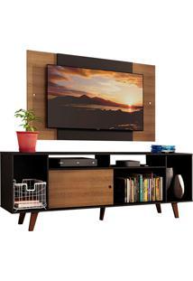 Rack Madesa Cancun E Painel Para Tv Até 58 Polegadas Com Pés - Preto/Rustic D8C1