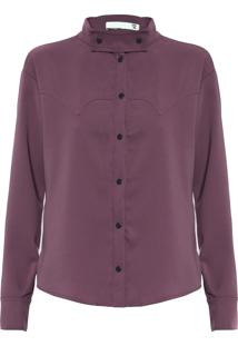 Camisa Feminina Gola Destacável - Roxo