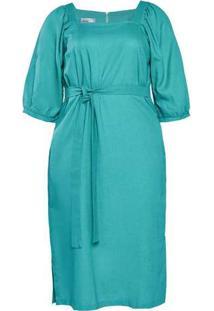 Vestido Almaria Plus Size New Umbi Linho Verde
