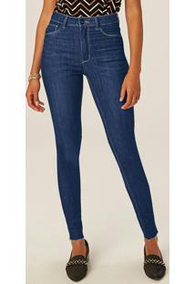 Calça Azul Skinny Jeans Flex Cintura Alta