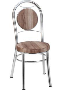 Cadeira Para Cozinha Em Aço Ca-945 Móveis Brastubo Cromado/Marrom