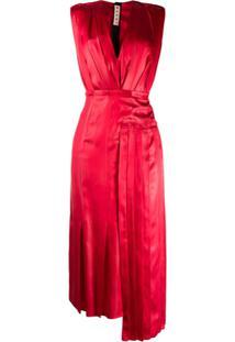 Marni V-Neck Satin Dress - Vermelho