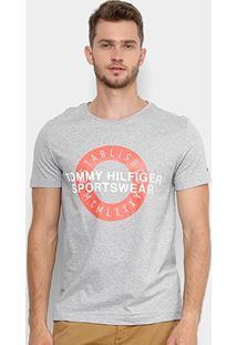 Camiseta Estampada Tommy Hilfiger Manga Curta Masculina - Masculino-Mescla