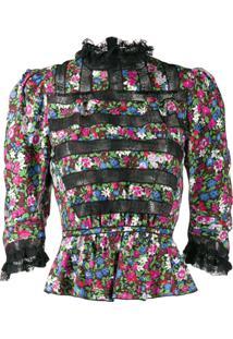 Marc Jacobs Blusa Victorian Floral - Preto