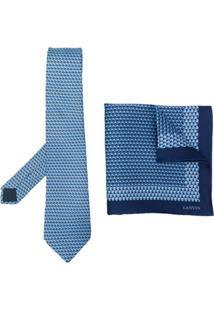 Lanvin Vintage Conjunto De Gravata E Lenço Com Padronagem - Azul