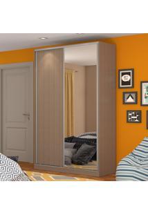 Guarda-Roupa Solteiro 2 Portas Correr 1 Espelho 100% Mdf Rc2004 Ocre - Nova Mobile
