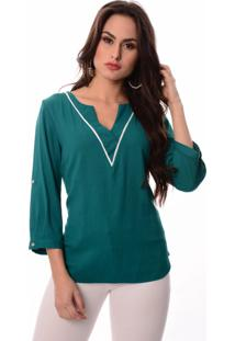 Blusa Love Poetry Decote V Verde - Tricae