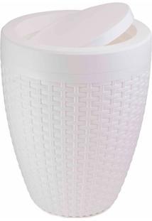Lixeira Em Polipropileno Com Tampa Basculante Rattan 7,5 Litros Branco