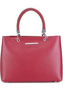 Bolsa Santa Lolla Shopper Alça Tressê Feminina - Feminino-Vermelho