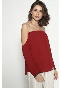 Blusa Ciganinha Texturizada Com Correntes - Vermelho Escmob