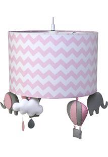 Lustre Tubular Elefante Quarto Bebê Infantil Menina Potinho De Mel Rosa