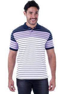 Camisa Polo Listrada Masculina Lift Blue - Lilas