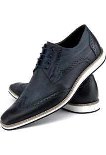 Sapato Social Oxford Rebento Couro Legitimo Azul Marinho