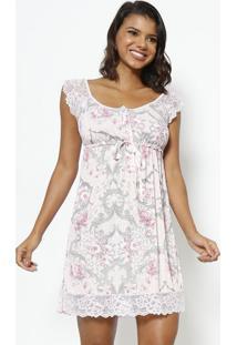 Camisola Com Botões & Amarração Com Lycra®- Rosa Claro &Fruit De La Passion