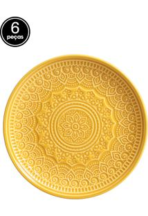 Jogo De Pratos Sobremesa 6 Pçs Agra Mostarda Porto Brasil