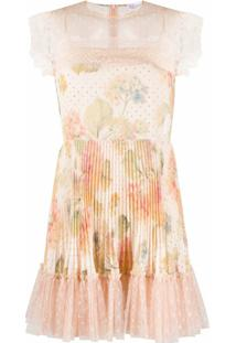 Redvalentino Vestido Com Pregas E Estampa Floral - Rosa