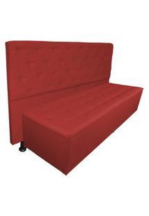 Cabeceira Mais Calçadeira Casal Juliana 140Cm Para Cama Box Suede Vermelho - Ds Estofados