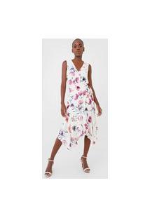 Vestido Dudalina Midi Floral Amarração Branco/Roxo