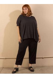 Blusa Ampla Listrada Tecido Ultra Leve Plus Size G
