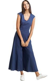 Macacão Mx Fashion Wide Leg De Linho Heloisa Azul Marinho - Kanui