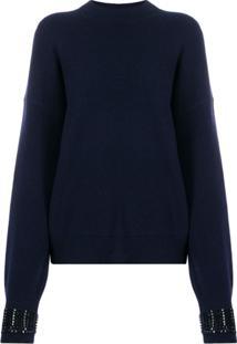 Alexander Wang Embellished-Cuff Sweater - Azul