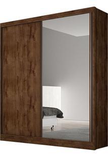 Guarda Roupa Virtus 2 Portas Com Espelho Canela