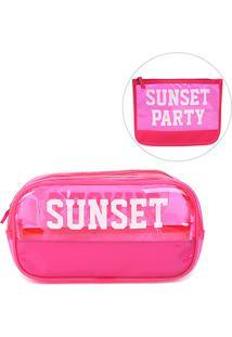 Kit Drezzup Necessaire Sunset + Necessaire Sunset Grande - Feminino-Pink