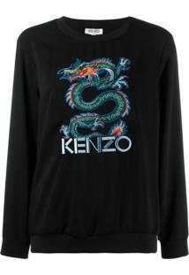 Kenzo Suéter Com Dragão Bordado - Preto