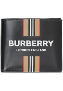 Burberry Carteira Com Listras Icônicas - Preto