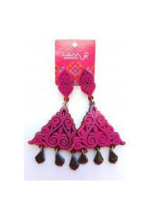 Brinco De Acrílico Triângulo Arabesco E Pedras - Rosa Pink