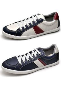 Kit Sapatênis Top Franca Shoes - Masculino-Branco+Vermelho